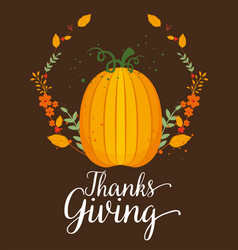 happy thanks giving card with pumpkin vector image
