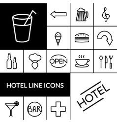 Hotel Black White Icons Set vector