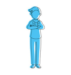 Isolated standing young man vector