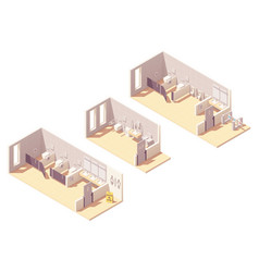 Isometric public pay toilet rooms vector