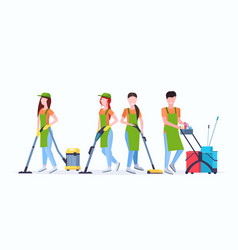 janitors team cleaning service concept male female vector image