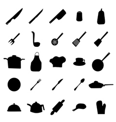 Kitchen ware and utensils silhouettes vector