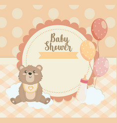 label teddy bear with balloons and feeding vector image