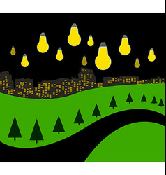 Landscape with night city vector