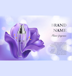 Light violet background with anti-aging cosmetic vector