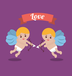 love couple cupid bow arrow banner design vector image