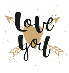 love you with heart and arrows modern ink brush vector image