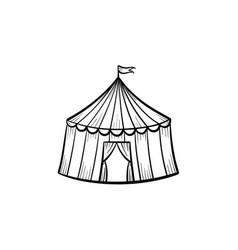 marquee circus tent hand drawn sketch icon vector image
