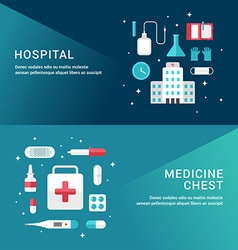 Medicine Concept Set of Flat Style for Web Banners vector image