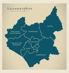 Modern map - leicestershire county with detailed vector