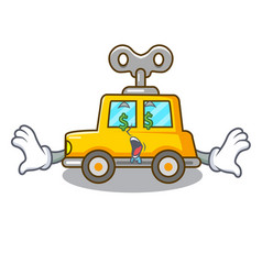 Money eye clockwork toy car isolated on mascot vector