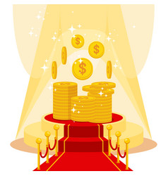 money on red carpet vector image