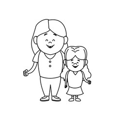 Mother with her daughter together family vector