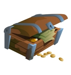 Old chest with coins and money banknotes vector