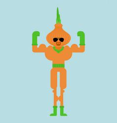 Onion superhero super vegetable in mask vector