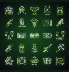 Online game inventory neon light icons set vector
