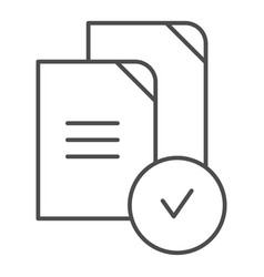 Paper approved thin line icon verified documents vector