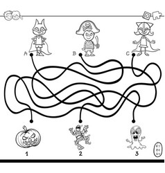 Paths maze with kids coloring book vector