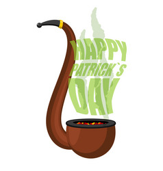 Pipe with smoke for leprechaun happy st patricks vector