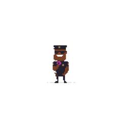 Pixel art policeman vector