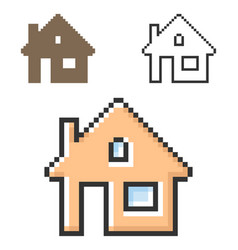 pixel icon home in three variants fully vector image