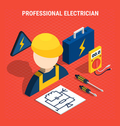 red electricity isometric composition vector image