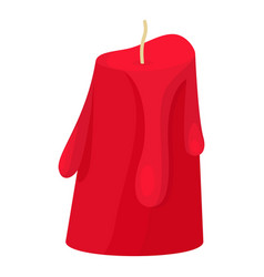 Red melted candle icon flat style vector