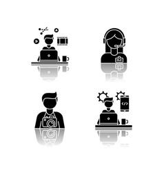 Remote workers drop shadow black glyph icons set vector