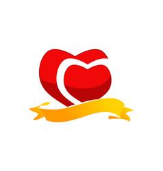 ribbon heart logo design template vector image