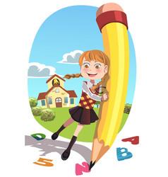 School girl with pencil vector