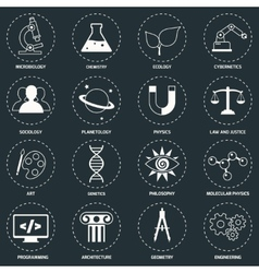Science areas icons white vector