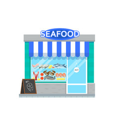 Seafood shop in flat style vector