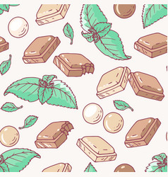 seamless pattern with hand drawn mint chocolate vector image