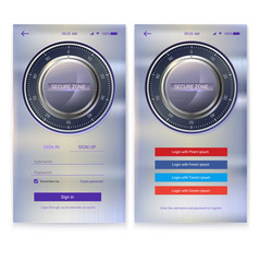 security application ui design on metal background vector image