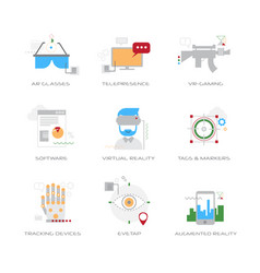 set different virtual reality digital technology vector image