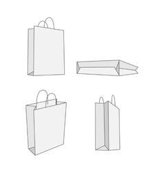 Set of four graphic white paper Bag vector image vector image