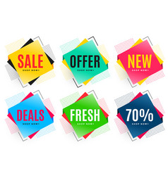 set of six abstract sale stickers vector image