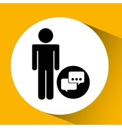 Silhouette man bubble speech social network design vector