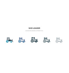Skid loader icon in different style two colored vector