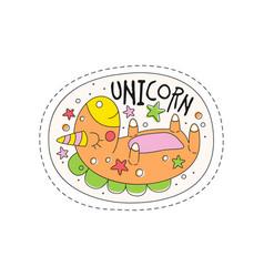 sweet sleeping unicorn childish patch badge cute vector image