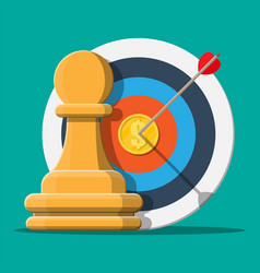target with arrow and gold coin chess pawn vector image