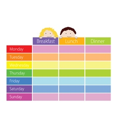 timetable with kids color vector image