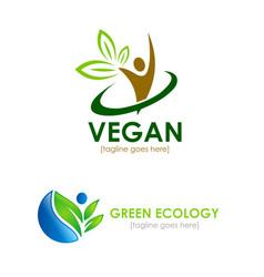 vegetarian logos vector image