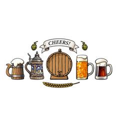 vintage set beer mugs old wooden barrel vector image