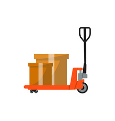 warehouse freight cart with boxes icon vector image