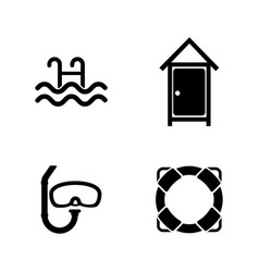 Water pool swimming simple related icons vector