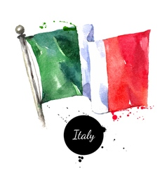 Watercolor Italy flag Hand drawn on white vector image