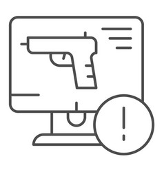 weapon on computer thin line icon computer attack vector image