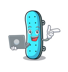 With laptop skateboard character cartoon style vector
