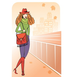 Woman and Autumn street vector